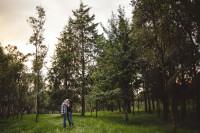 Fotografía de novios en bosque